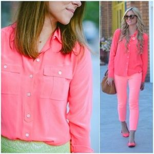 J.CREW Blythe Silk Button Down Blouse Coral Top XS